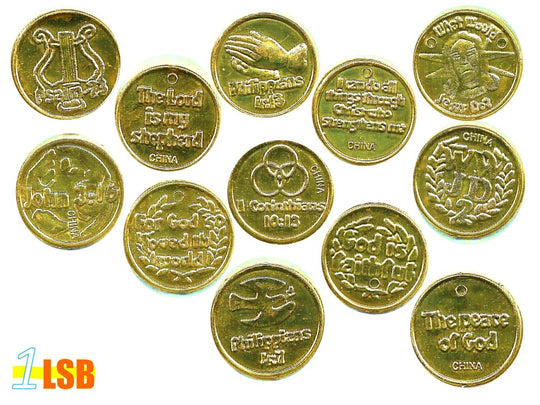 COE01 Double Sided Scripture Verses Gold Coins Random Set of 12 - FAVOURITE