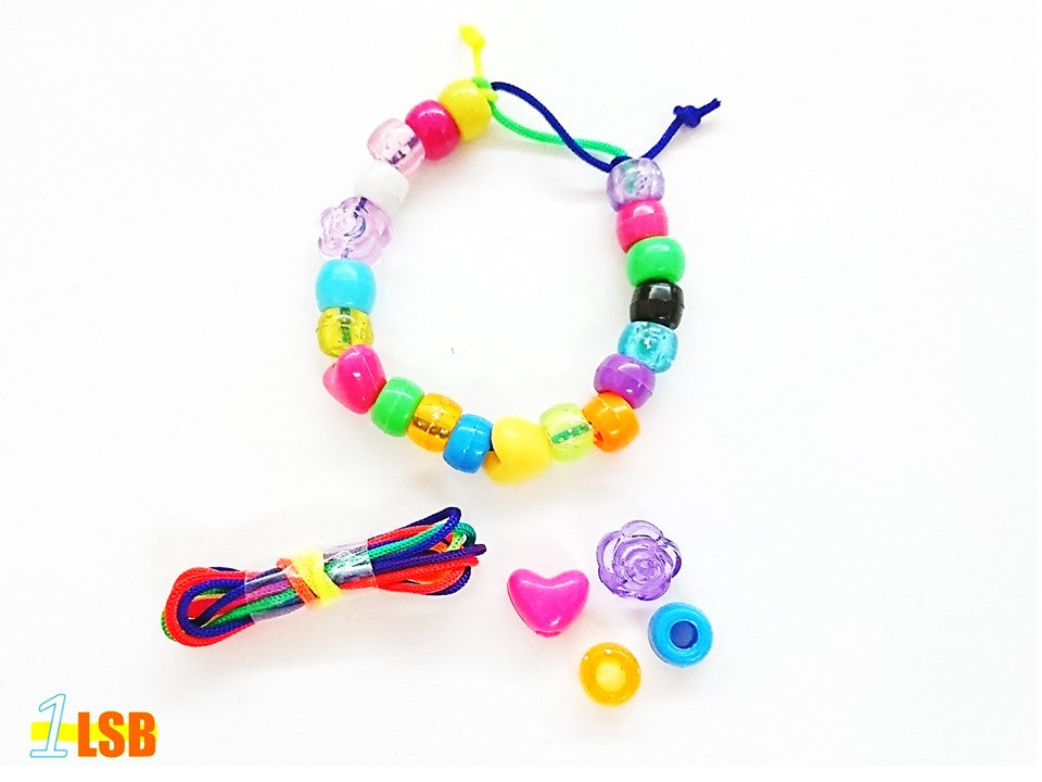 "DIYC01 ""Happy Hearts"" DIY 20 Beads & Non Elastic Cord Set"
