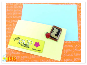"FMB02 ""Thank God for Teachers"" Magnetic Bookmark and Pin Set"