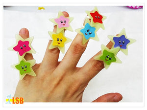 SWSK15 Happy Star Glow-in-the-Dark Rings set of 10