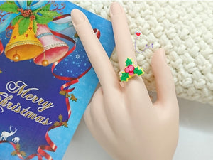"SWSK37 ""Happy Christmas"" Resin Charmed Rings Set of 12"