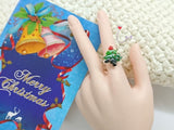 "NEW! RGG01 ""Happy Christmas"" Resin Charmed Ring"