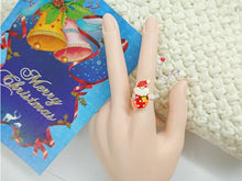 "Load image into Gallery viewer, SWSK37 ""Happy Christmas"" Resin Charmed Rings Set of 12"