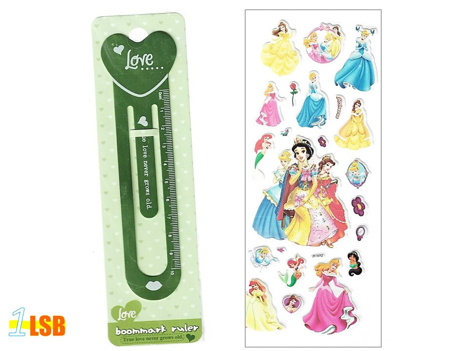 "SOSBM01A ""Love"" Metal Bookmark Set A + Free 3D Puff Disney Princess Stickers Sheet"