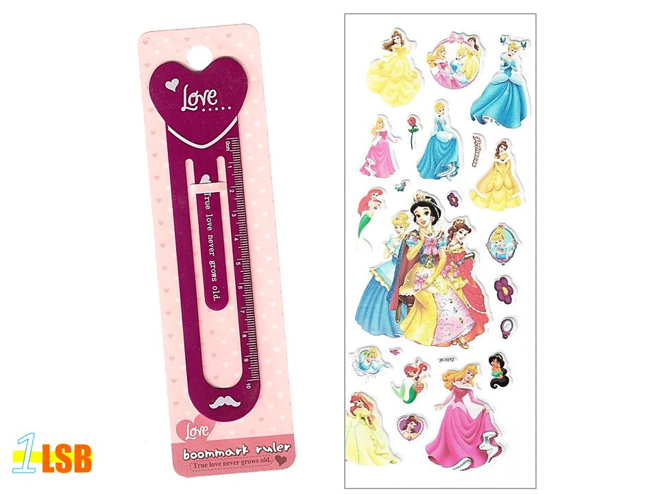 "SOSBM01B ""Love"" Metal Bookmark Set B + Free 3D Puff Disney Princess Stickers Sheet"