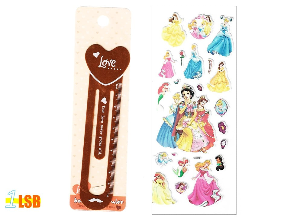 "SOSBM01C ""Love"" Metal Bookmark Set C + Free 3D Puff Disney Princess Stickers Sheet"