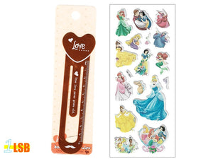 "SOSBM01D ""Love"" Metal Bookmark Set D + Free 3D Puff Disney Princess Stickers Sheet"