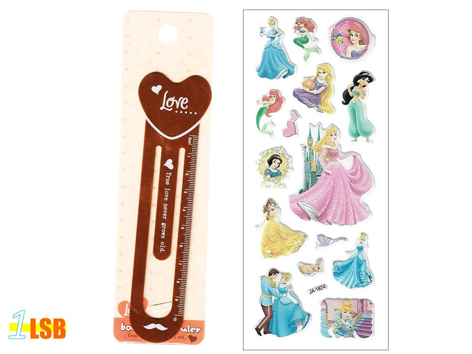 "SOSBM01E ""Love"" Metal Bookmark Set E + Free 3D Puff Disney Princess Stickers Sheet"