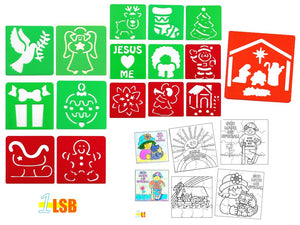 "SWSK05 ""Merry Christmas"" Craft Stencil + Colour Your Own Jigsaw Puzzle Sets of 12"