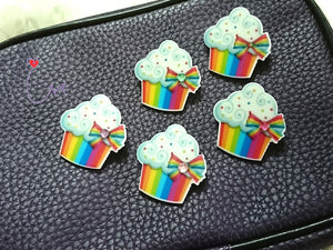 "SWSK44 ""Rainbow Cupcake"" Acrylic Merry Charm Badges Set of 12"