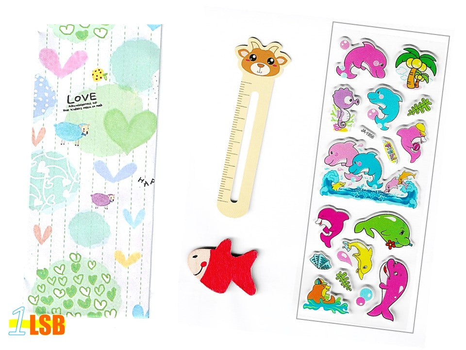 "SVT04 ""Happy Dophin"" 3D Stickers Magnet Bookmark Super Value Set"