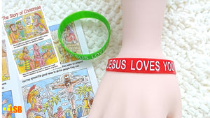 "SWSK25 ""Jesus Loves You"" Bracelet + Christmas Story Tract Set of 15"