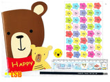 "NEW! SVT13A ""Happy Bear"" Note Book Stickers Ruler Pencil Super Value Set A"