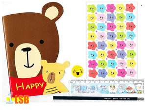 "SVT13A ""Happy Bear"" Note Book Stickers Ruler Pencil Super Value Set A"