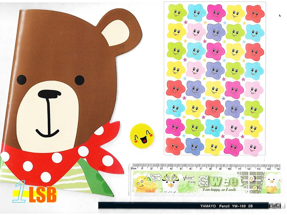 "SVT13B ""Happy Bear"" Note Book Stickers Ruler Pencil Super Value Set B"