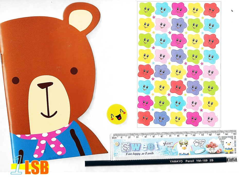 "SVT13C ""Happy Bear"" Note Book Stickers Ruler Pencil Super Value Set C"