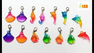 SUKD05 Acrylic Sea Life Clip'Fun Merry Charms Set of 14 assorted