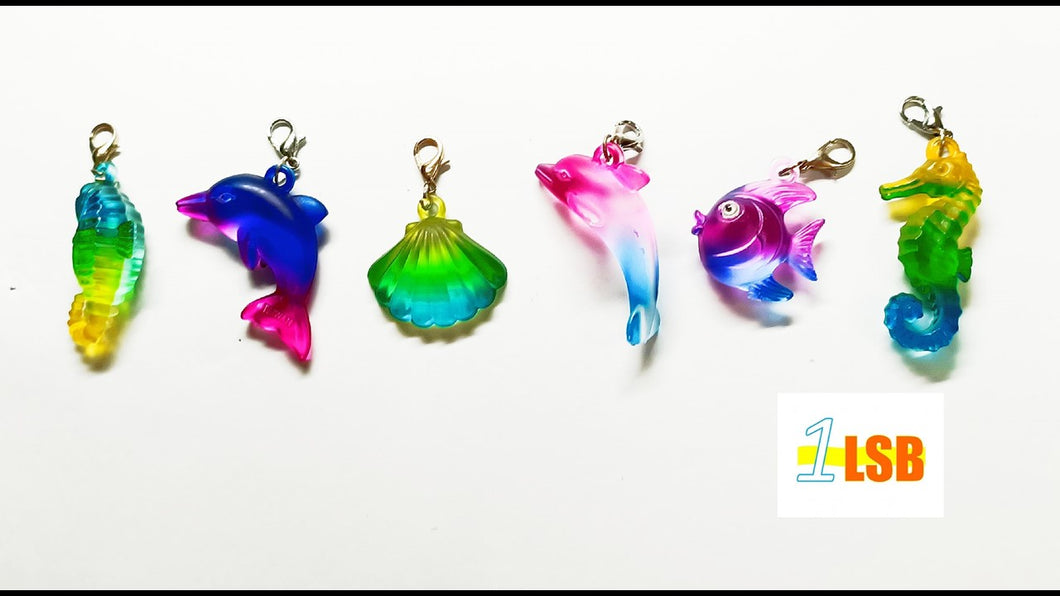 SUKD07 Acrylic Sea Life Clip'Fun Merry Charms Set of 6 Assorted