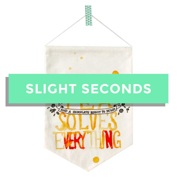 SALE - A Cup of Tea Solves Everything Original Fabric Banner