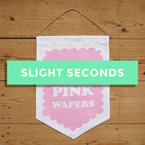 SALE - On Wednesdays We Eat Pink Wafers Fabric Banner