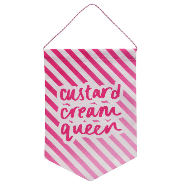 Ombre Custard Cream Queen Printed Fabric Banner