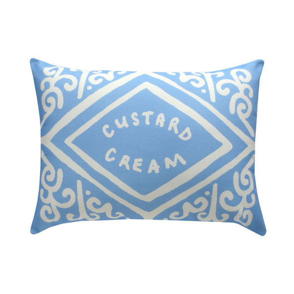 Sky Blue Custard Cream Printed Cushion