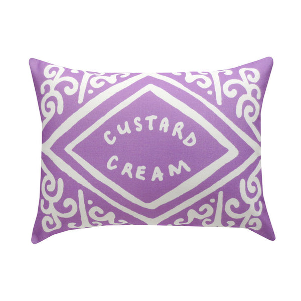 Parma Violet Purple Custard Cream Printed Cushion