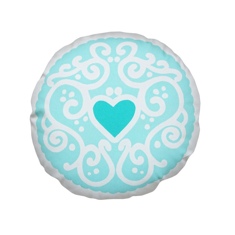 Mint Jammy Heart Printed Cushion