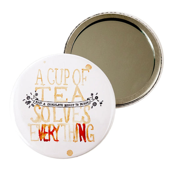 A Cup Of Tea Solves Everything Pocket Mirror