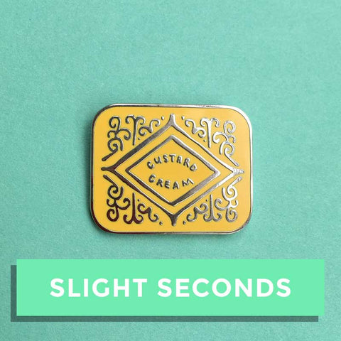 SALE - Custard Cream Hard Enamel Pin