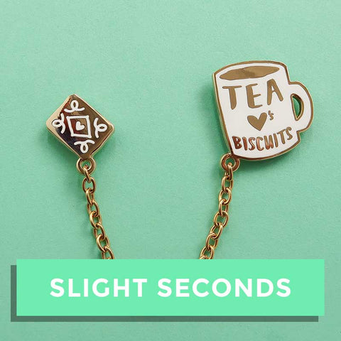 SALE - Tea Loves Biscuits Chained Enamel Pin