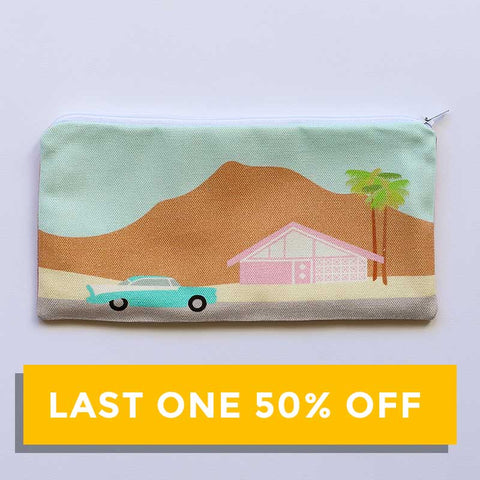 SALE - Finest Imaginary Collab - Palm Springs Desert Scene Printed Pouch