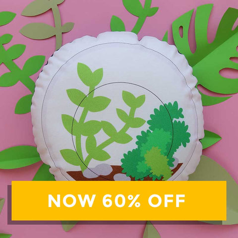 SALE - Finest Imaginary Collab - Round Terrarium Printed Cushion
