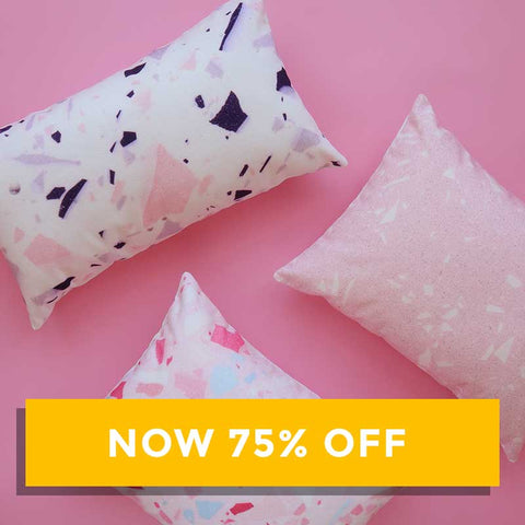 SALE - Katie Gillies Collab Cushion - White / Pink / Pink & Blue
