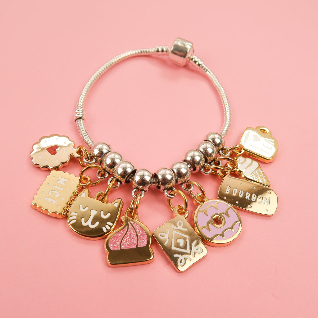 Gold I Heart Tea Charm