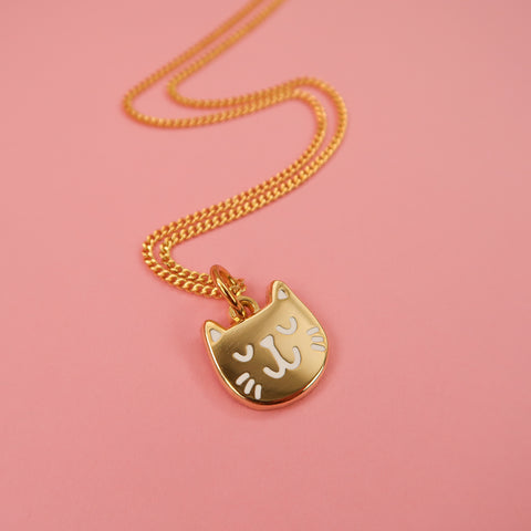 Itty Bitty Golden Kitty Necklace