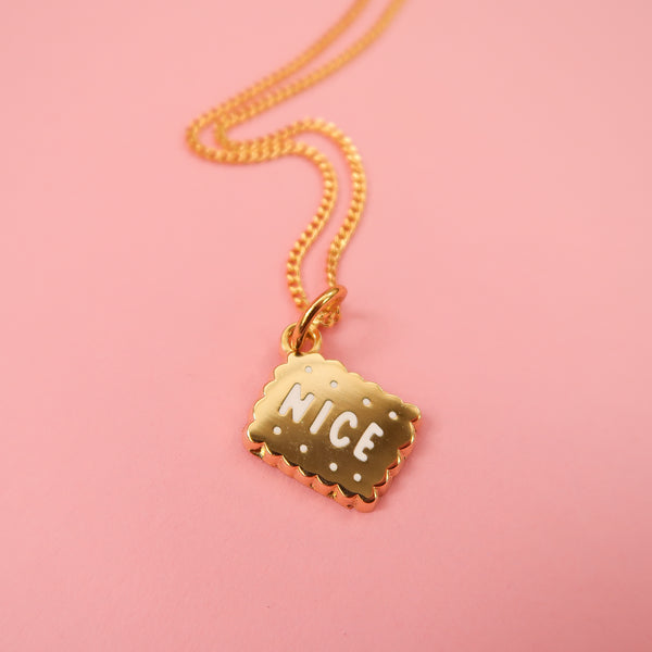 Itty Bitty Golden Nice Biscuit Necklace