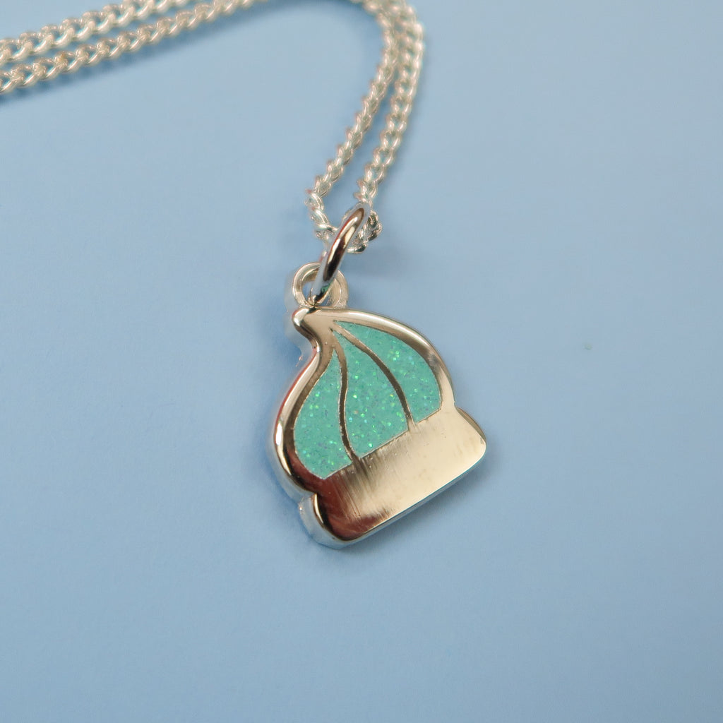 Itty Bitty Silver Iced Gem Necklace with Mint Glitter