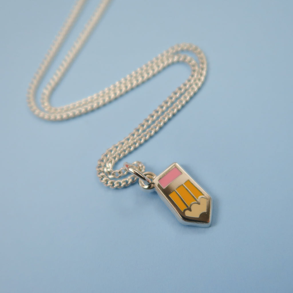 Itty Bitty Silver Pencil Necklace