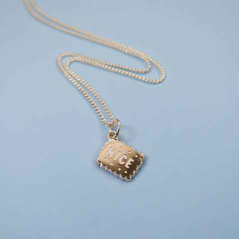 Silver Nice Biscuit Charm Necklace