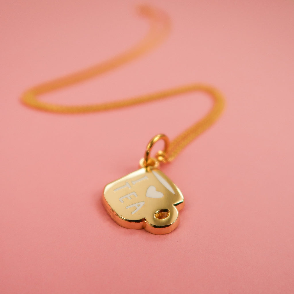 Gold Cup of tea necklace by Nikki McWilliams
