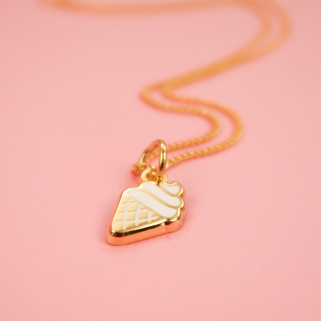 Ice Cream cone Gold Necklace
