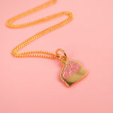 Itty Bitty Gold Iced Gem Necklace with Pink Glitter