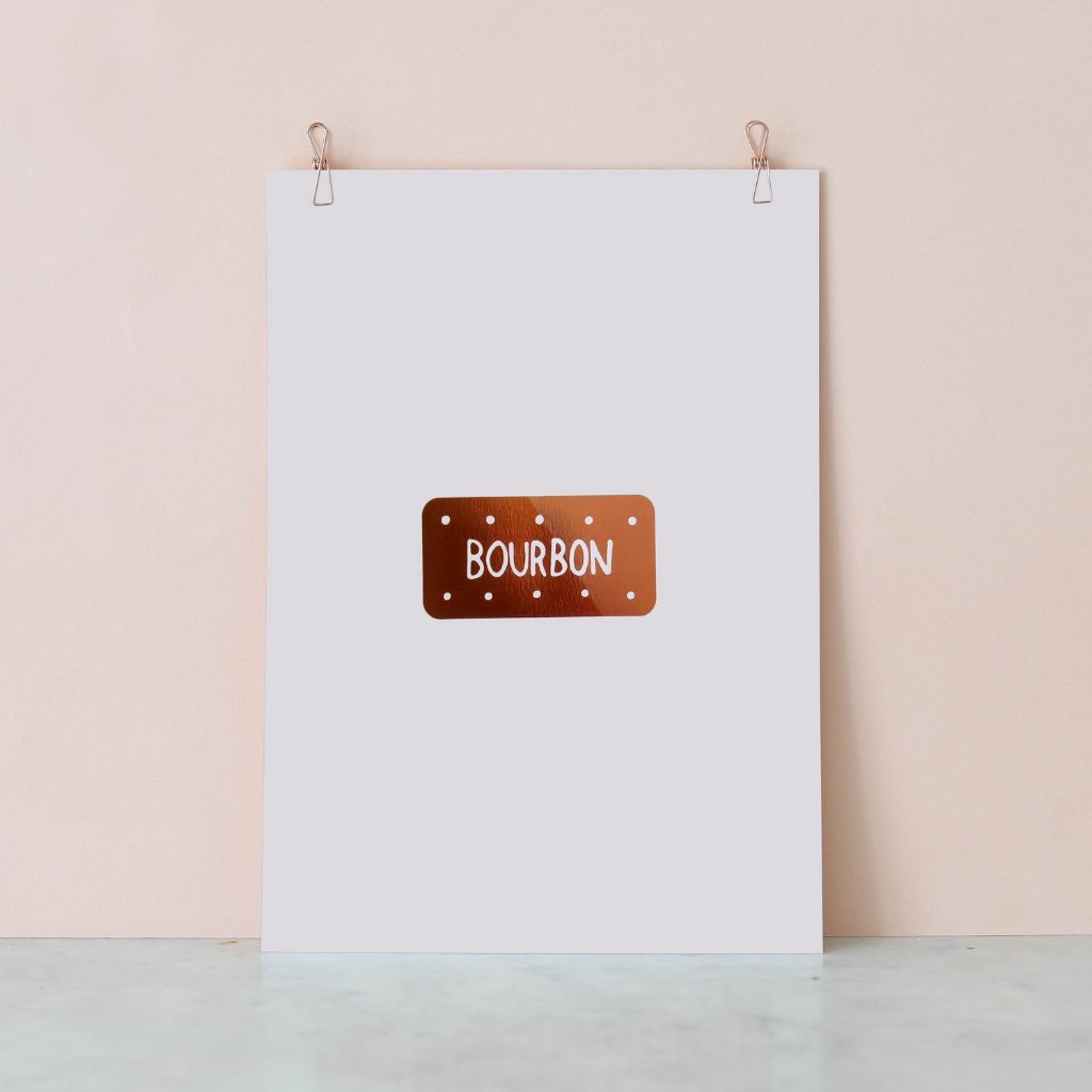 Copper Bourbon biscuit Foil Print by Nikki McWilliams
