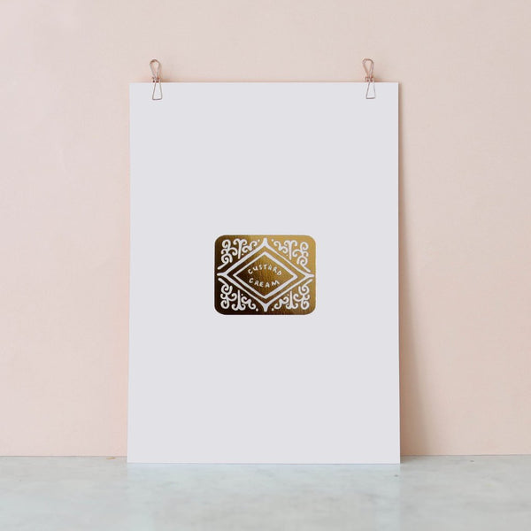 Gold Custard Cream Foil Print by Nikki McWilliams