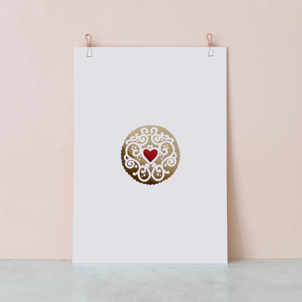 Gold Jammy Dodger Foil Print by Nikki McWilliams