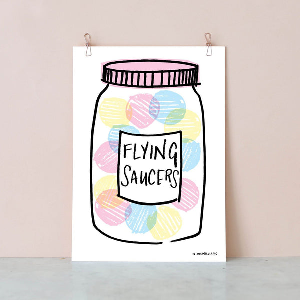 Sweetie Jar Digital Print - Flying Saucers