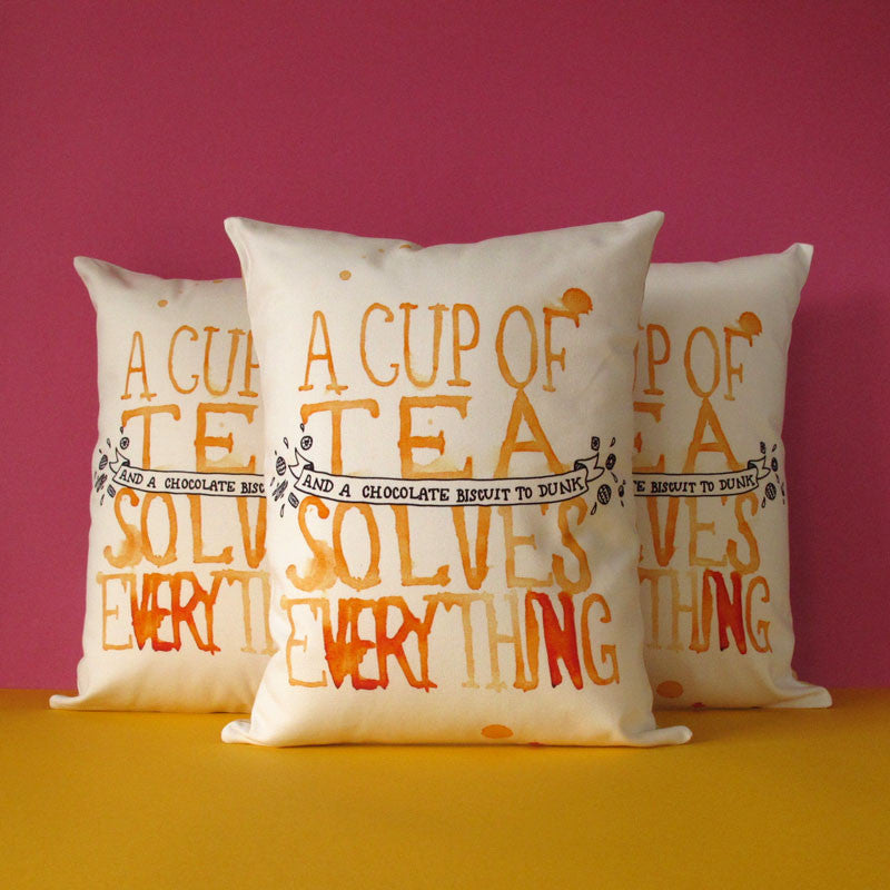 A Cup of Tea Solves Everything Printed Cushion