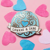 Custom Jammy Heart Enamel Pin Wedding Favours