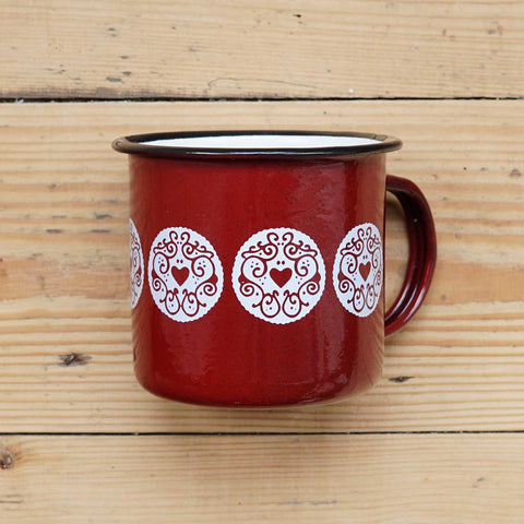 Jammy Heart Enamel Mug - Ruby Red